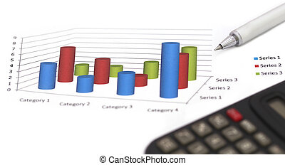 Sales bar chart with ballpoint and calculator