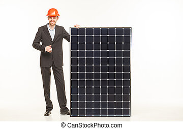 man suit with solar battery