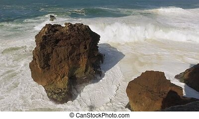 Big Ocean Waves Breaking on Rock, sunny weather