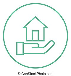 House insurance line icon. - House insurance thick line icon...