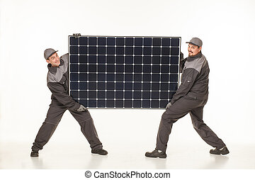 two man with solar battery