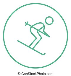 Downhill skiing line icon - Downhill skiing thick line icon...