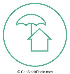 House under umbrella line icon. - House under umbrella thick...