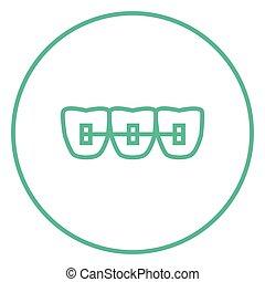 Orthodontic braces line icon - Orthodontic braces thick line...