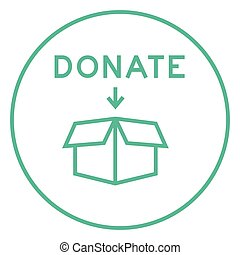 Donation box line icon - Open donation box thick line icon...