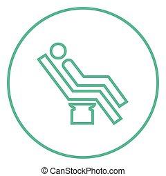 Man sitting on dental chair line icon. - Man sitting on a...