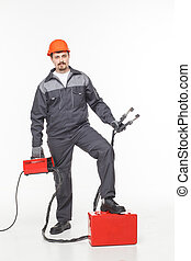 worker welder welding machine on isolated background