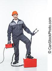 worker welder  welding machine on isolated background