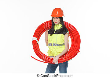 girl uniform coil pipe - girl in the uniform of a coil of...