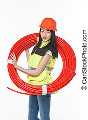 girl uniform coil pipe plastic - girl in the uniform of a...