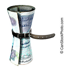 Tightening Belt Around Money - A regular leather belt that...