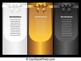 Luxury vertical invitation cards with ribbon bow. Vector...