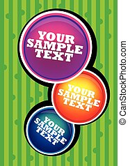3 Colorful Circles on Green Striped Background