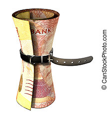 serrage, ceinture, autour de, argent,