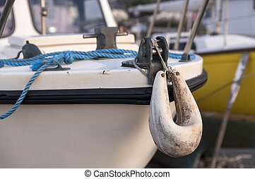 White boat fender for motor boat.It's used as bumper used to...