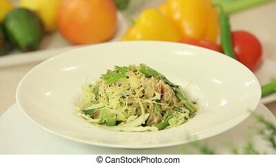 Hot vegetable salad with cheese - Presentation of hot...