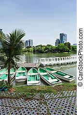 Rowboats in Lumphini Park; Bangkok - Rowboats in Lumphini...
