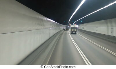 Point Of View Traffic In The Tunnel Time Lapse