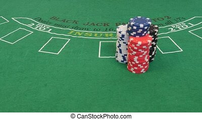 Man Spread Out Poker Chips