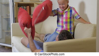 Pillow Fight between Son and Dad - Little boy and his father...