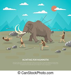 Mammoth Hunting Illustration - Color illustration showing...