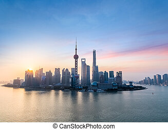 beautiful shanghai skyline in sunrise
