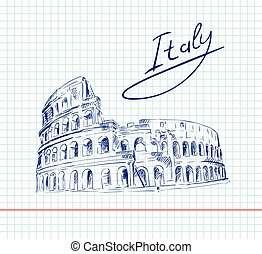 Coliseum. Italy Attractions - hand drawn sketch of Coliseum...