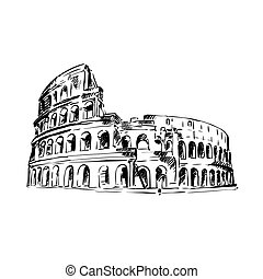 Coliseum Italy Attractions - hand drawn sketch of Coliseum...