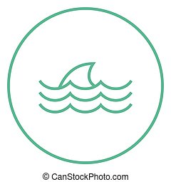 Dorsal shark fin above water line icon - Dorsal shark fin...