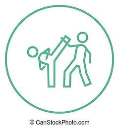 Karate fighters line icon - Karate fighters thick line icon...