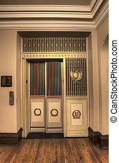 Old Antique Elevator in Historic Courthouse Building