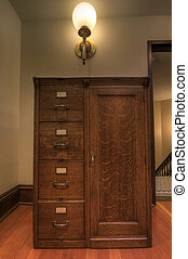 Antique Oak Filing Cabinet inside Historic Courthouse