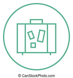 Suitcase line icon. - Suitcase thick line icon with pointed...