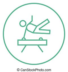 Gymnast exercising on pommel horse line icon. - Gymnast...