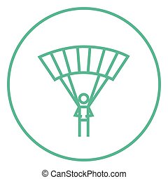 Skydiving line icon - Skydiving thick line icon with pointed...