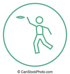 Man playing with flying disc line icon - Man playing with...