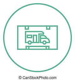 RV camping sign line icon - RV camping sign thick line icon...