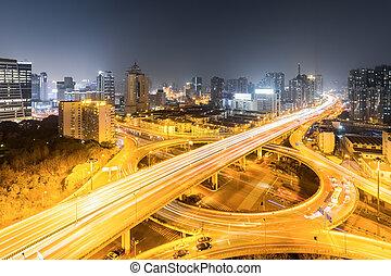 grau, urbano, noturna, separação, ponte