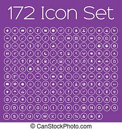 Icon Set Isolated on Purple Background
