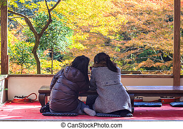 Kyoto, JAPAN - Nov 16, 2013: A pavilion at Jingo-ji, Japan. Jingo-ji, Japan is one of the closest natural recreation areas to Kyoto, offering beautiful scenery, an interesting temple and hiking opportunities