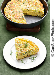 Omelette with herbs, cheese and zucchini - Vegetable...