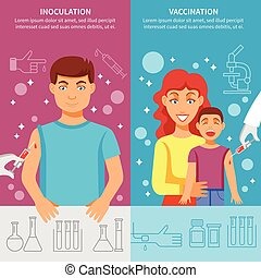 Child And Adult Vaccination Banner Set - Medical vertical...