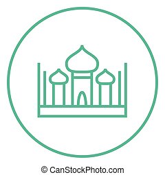 Mosque line icon - Mosque thick line icon with pointed...