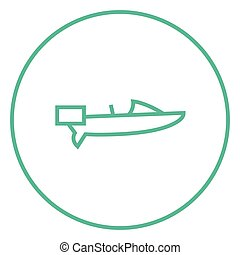 Motorboat line icon. - Motorboat thick line icon with...
