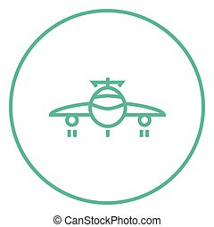 Airplane line icon - Airplane thick line icon with pointed...