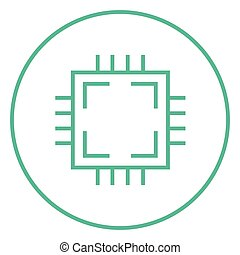 CPU line icon - CPU thick line icon with pointed corners and...