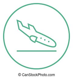Landing aircraft line icon - Landing aircraft thick line...