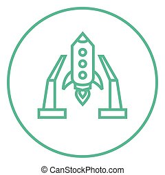 Space shuttle on take-off area line icon - Space shuttle on...