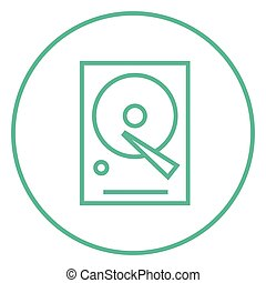 Hard disk line icon - Hard disk thick line icon with pointed...