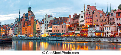 Old Town and Motlawa River in Gdansk, Poland - Panorama of...